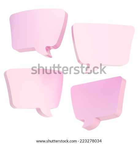 Text bubble pink dimensional shapes isolated over the white background, set of four foreshortenings - stock photo