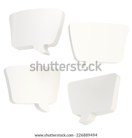 Text bubble white glossy dimensional shapes isolated over the white background, set of four foreshortenings - stock photo