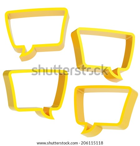 Text bubble yellow dimensional shapes isolated over the white background, set of four foreshortenings - stock photo