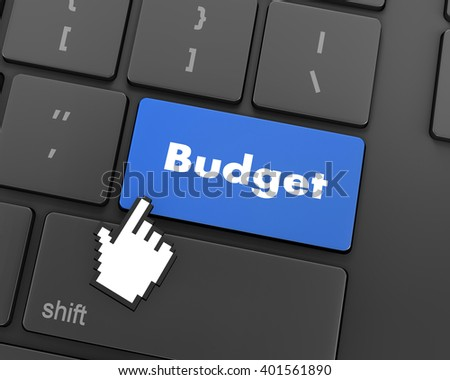 Text budget button, 3d rendering - stock photo