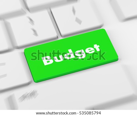 Text budget button, 3d rendering