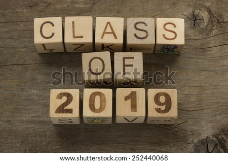 Text Class of 2019 on a wooden background - stock photo