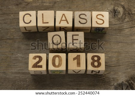 Text Class of 2018 on a wooden background - stock photo