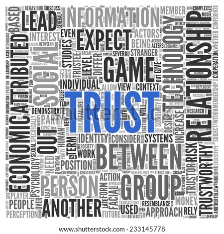 Text cloud background depicting - Trust - centered in blue surrounded by associated words such as relationship, social, rely, trustworthy, perception in a dense text cloud of different sizes, square - stock photo