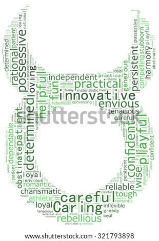 Text collage of the zodiac Taurus - stock photo