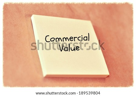 Text commercial value on the short note texture background