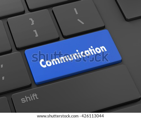 Text communication button, 3d rendering - stock photo