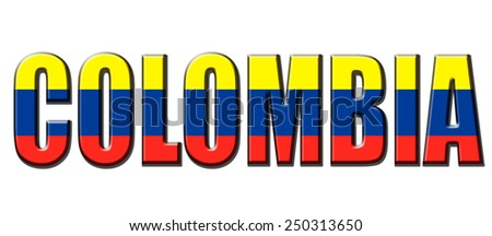 Text concept with Colombia waving flag - stock photo
