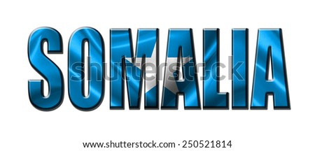 Text concept with Somalia waving flag - stock photo