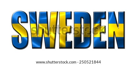 Text concept with Sweden waving flag - stock photo