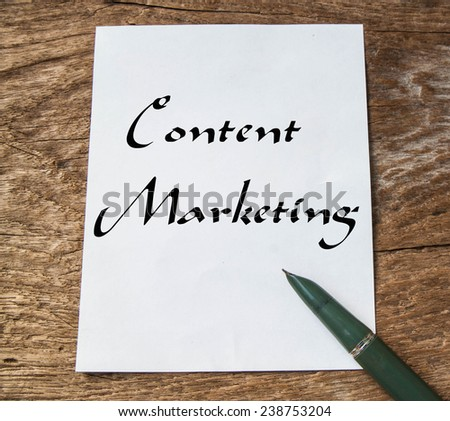 Text content marketing on note paper  - stock photo
