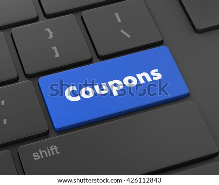 Text coupons button, 3d rendering