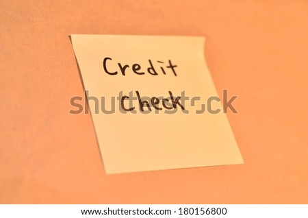 Text credit check on the short note texture background