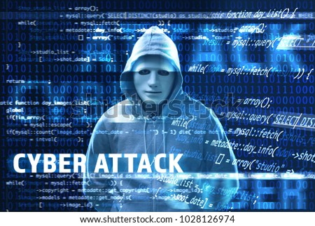 Text CYBER ATTACK and hacker in mask and code on dark background