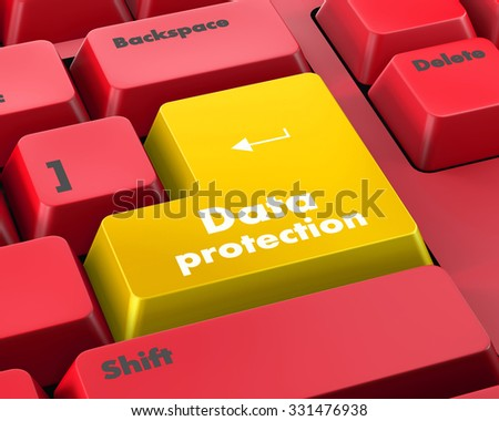 Text data protection button 3d render - stock photo