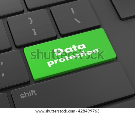 Text data protection button, 3d rendering