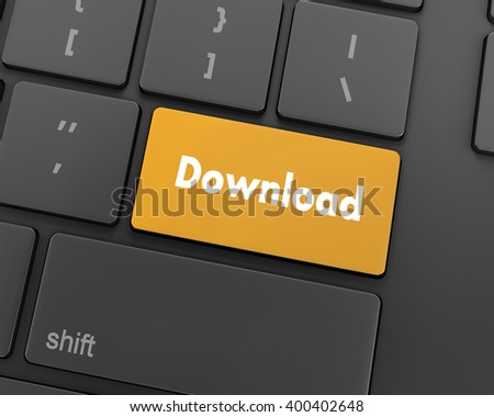 Text download button, 3d rendering - stock photo