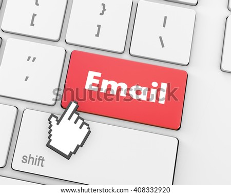 Text email button, 3d rendering