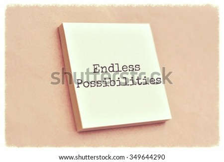 Text endless possibilities on the short note texture background - stock photo