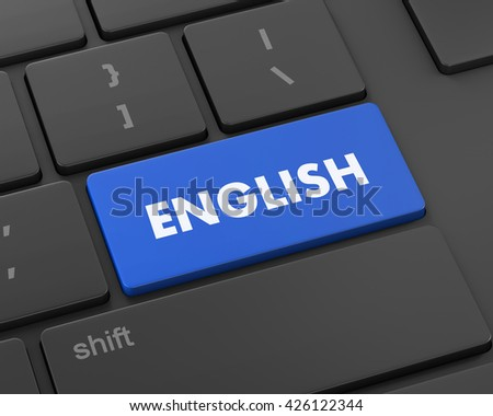 Text english button, 3d rendering - stock photo