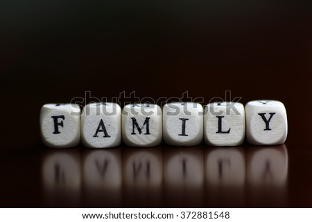 text family letter cube