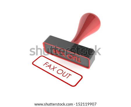 "text "" Fax Out "" rubber stamp on white background"