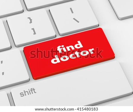 Text fine doctor button, 3d rendering
