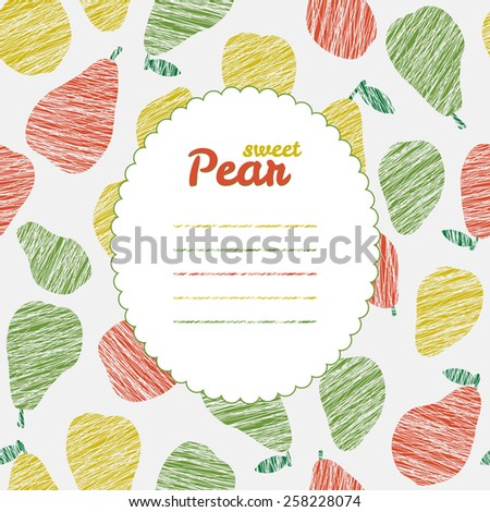 Text frame. Repeating backdrop with scratched pears. Summer harvest background. Endless pear texture. Dessert texture. Harvest template. Can be used as seamless pattern. Fruit card. - stock photo