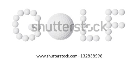 text from golf balls, isolated on white background
