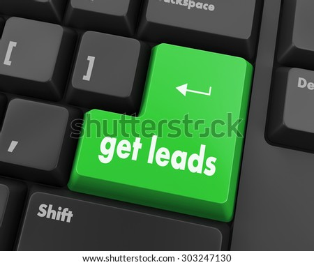 Text get leads button 3d render