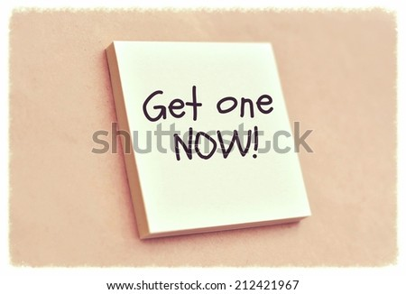 Text get one now on the short note texture background