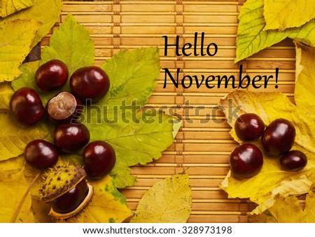 Text hello november on rustic background with chestnuts and maple leaves