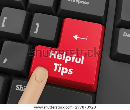 Text helpful tips button 3d render - stock photo