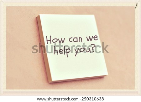 Text how can we help you on the short note texture background - stock photo