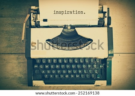 text inspiration on the paper in vintage typewriter vintage color tone - stock photo