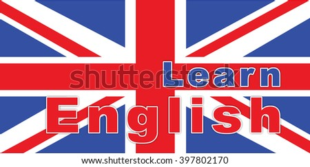 text learn english on British flag. Illustration
