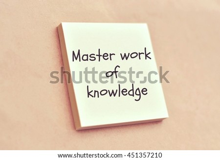 Text master work of knowledge on the short note texture background - stock photo