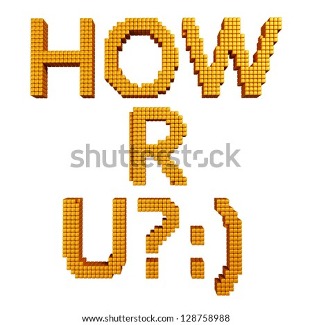"""Text message """"HOW R U?"""" made of yellow glossy cubes isolated on white - stock photo"""