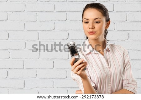 Text Messaging, Mobile Phone, Women. - stock photo