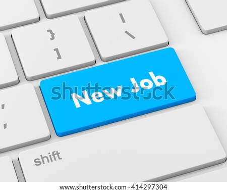 Text new job button, 3d rendering