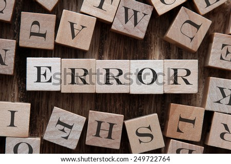 text of ERROR on cubes - stock photo