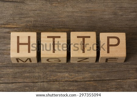 text of HTTP on wooden cubes - stock photo