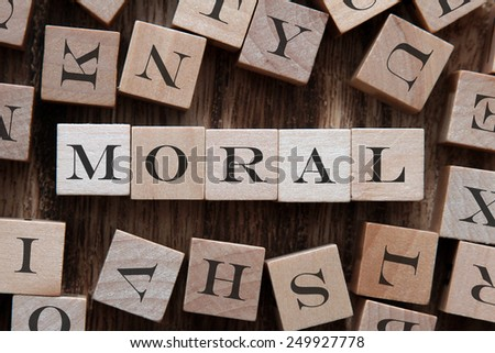 text of MORAL on cubes - stock photo