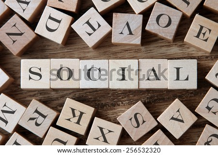 text of SOCIAL on cubes - stock photo