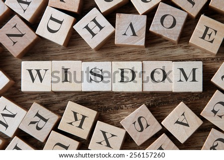 text of WISDOM on cubes - stock photo