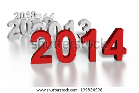 Text of year 2014 in front of previous years - stock photo