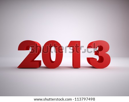 text of year 2013 on plain background - stock photo
