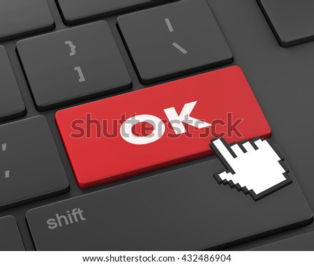 Text ok button, 3d rendering - stock photo