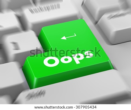 Text Oops button 3d render