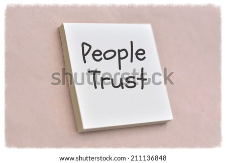 Text people trust on the short note texture background